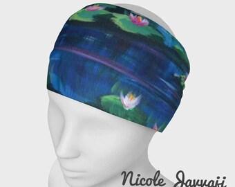 Lilypad Pond Blue Headwrap headband scarf cowl face warmer