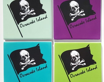 Ocracoke Island Pirate Flag Sandstone Coaster set comes with gift box Skull crossbones