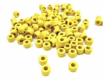 Yellow tube beads, yellow ceramic beads, mykonos beads, greek ceramic beads, rustic beads, (50)