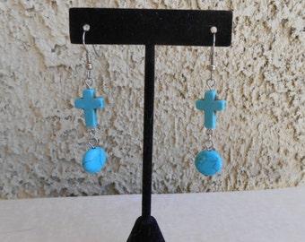 Howlite Cross Earrings