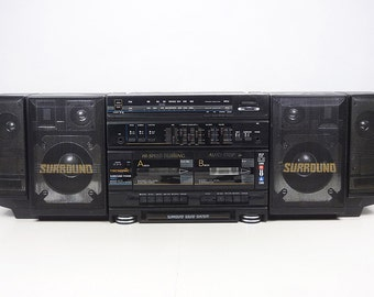 Vintage 80's *MASSIVE* TECSONIC surround power boombox ghetto blaster radio cassette deck
