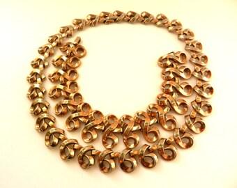 Vintage Crown Trifari Scroll Necklace & Bracelet Set Alfred Philippe Pat Pend 1950 - Superb gold Trifanium design - art.640/4