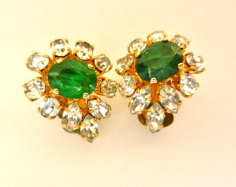 Rare Couture CHRISTIAN DIOR Poured Glass Gripoix Emerald Green Gold Plated Earrings - super chic, high-end  Authentic Dior Design -Art.761/4