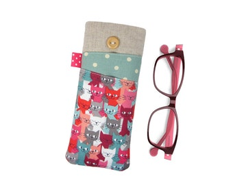 Cat Glasses Case, Personalised Gift for Women, Spectacles Pouch, Soft Glasses Case, Cat Lover Gift, Mothers Day Gift