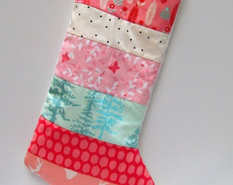 Quilted Christmas Stocking-Modern -Chevron-Mint and Coral-Buck-Feathers-Trees-Antler-Baby Girl Christmas