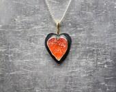 Rough Fire Opal Heart Necklace Black Oxidized Silver 22K Yellow Gold Raw Mexican Orange Gemstone Pendant Rustic Primitive Design - Feuerherz