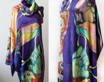 Silk Shawl Hand Painted Purple Shawl Tropical Butterflies Custom Made