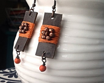Leather Earrings with Orange and Copper