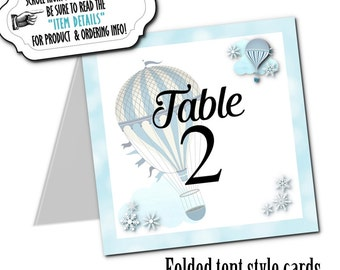 Table Number Cards, Buffet Table Cards, Hot Air Balloons, Snowflakes, Wedding, Bridal or Baby Shower, Birthday, Pink or Blue