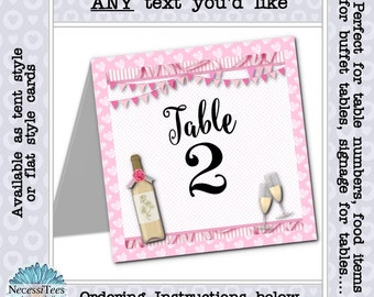 Table Number Cards, Wine Bottle & Wine Glass, Pink Stripes, Bridal Shower, Wedding, Bachelorette Party, Birthday, Girls Night Out