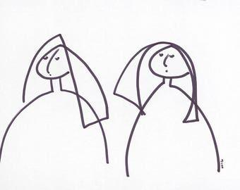 "Minimalist Art-Portrait-Line Drawing-Giclee Print of Original Illustration 8""x10""-2 Women-'Viola & Ottilie'-Black White-Monochrome-WallArt"