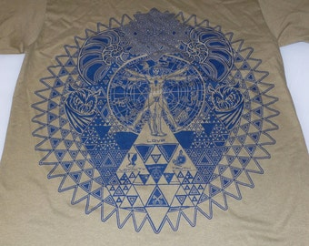 T-Shirt - Fractal of Self (Blue on Tan)