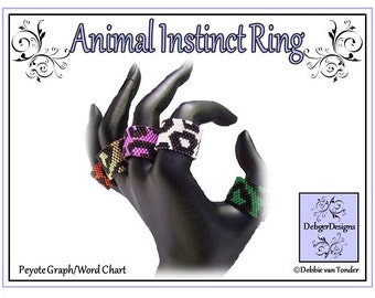 Beading Pattern, Tutorial, Single Peyote, Ring - ANIMAL INSTINCT