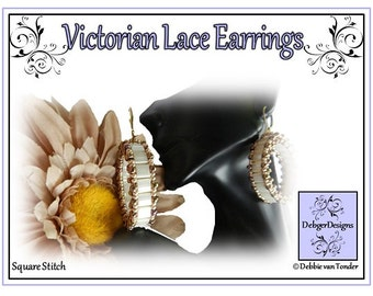 Tila Beading Pattern, Tutorial, Earrings - VICTORIAN LACE