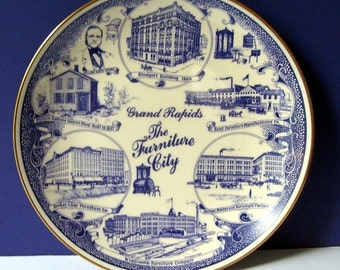Grand Rapids Michigan Furniture Souvenir Plate, Furniture Stores, Widdicomb Furniture, Large Blue and White Cabinet Plate,