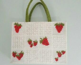 Vintage Strawberry Needlepoint handmade OOAk Purse Monogrammed Mary