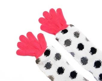 Childrens Long Gloves, toddler gloves, baby gloves, hot pink gloves, polka dot
