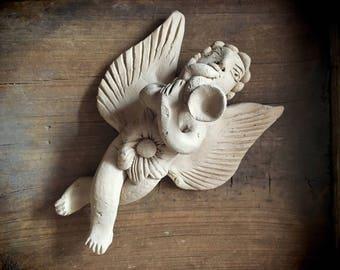 Vintage Mexican pottery angel wall hanging, folk art angel, primitive decor, Mexican art, religious folk art, wall art, ceramics and pottery