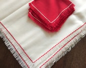 Vintage Linen Tablecloth and Napkin Set, Red and White, Square a Table, FringePicnic
