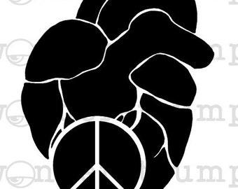Anatomic Peaceful Heart Stencil