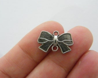 10 Bow connector charms antique silver tone CT173