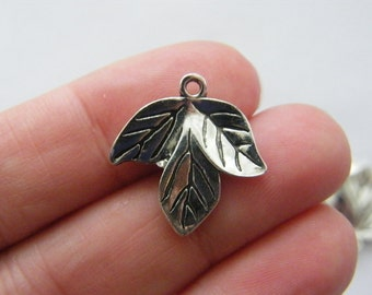 BULK 50 Leaf charms antique silver tone L84