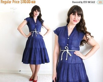 ON SALE 1950's Dress / 50's Dress / Blue 50's Dress