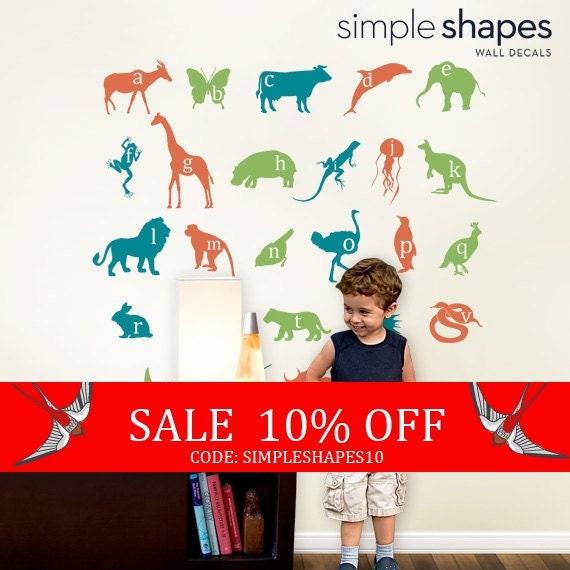 Sale - Wall Decals - Alphabet Animals