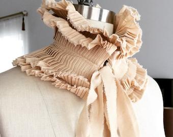 Beige Neck ruff/Hand made collar/Pleated Collar/Detachable Ruffle Collar/Ruffle/Ruffle collar/ Ruffled Fashion/Bohemian collar/ rusteam