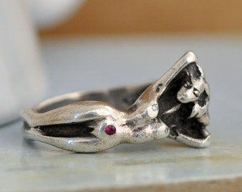 vintage find handmade sterling silver nudity ring, naked woman ring, ruby and diamond ring.  U.S size 7.5