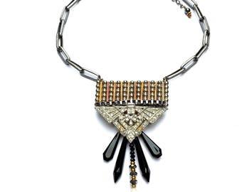 Femme Fatale - Vintage Necklace, Rhinestone Necklace, Unique Necklace, Spike Necklace, Sparkly Jewelry, Original Jewelry, Statement Necklace