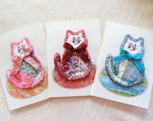 Reserved for C, 4 cat cards, blank note, birthday greeting, vintage cutter quilt, hand stitched, blue kitty, get well, paper goods