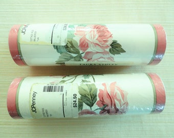 2 Rolls Laura Ashley wallpaper border, pink roses, cottage chic home decor, vintage decorating, decoupage paper, scrapbooking supplies