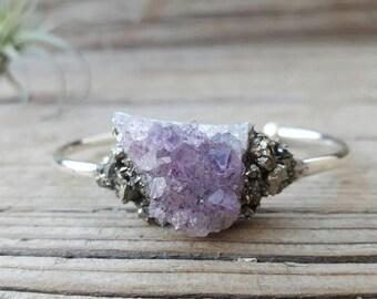 Raw Amethyst Crystal, Amythest Bracelet,  Pyrite Bracelet, Cuff Bracelet Druzy Cuff Bracelet Christmas Gift Druzy Stone Bracelet  Silver