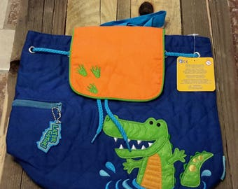 Personalized monogram Stephen Joseph quilted boy alligator design backpack/diaper bag/baby shower gift