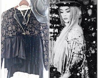 Clearance Sale boho Black velvet jacket, Gypsy spell romantic tunic, Stevie Nicks style lace velvet jacket top party, True rebel clothing M