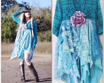 Sale M Turquoise Boho kimono, spring floral Bohemian jacket, Romantic boho festival Clothing, Gypsy Boho dresses, Shabby True rebel clothing
