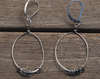 Sterling Hoop earrings with Sterling Rings kinetic jewelry Oxidized Sterling on Sterling Leverback earwires LIGHTWEIGHT