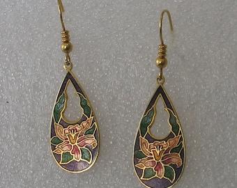 SALE One Pair Enamel Orchid Flower Earrings