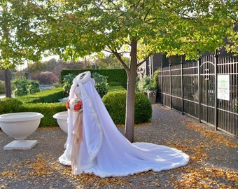 Winter Princess Wedding Cape 52/96 inch White / White Satin Bridal Cloak with Fur Trim Handmade in USA