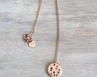 14 K Solid Rose Gold Full Moon Pendant Necklace with Black Diamonds.