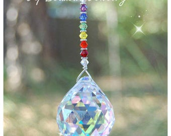 Rainbow Prism Crystal Suncatcher, Swarovski Rearview Mirror Car Charm, Window Decoration, Fan Pull, Light Pull, 10 Prism Colors