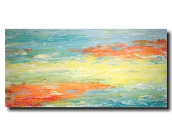 Original Large Abstract painting - 24 X 48 JMJartstudio-Striking Distance -Wall art- orange painting-Oil painting-white