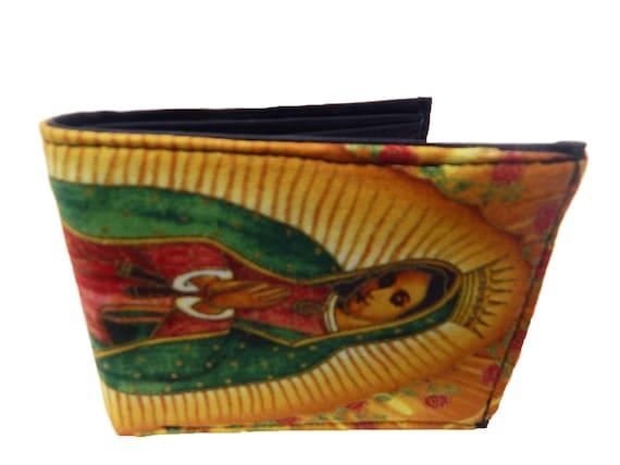 "USA Handmade Bi-Fold Men Wallet ""VIRGIN MARY"" Pattern, Cotton Fabric ,Black,  New, Rare"