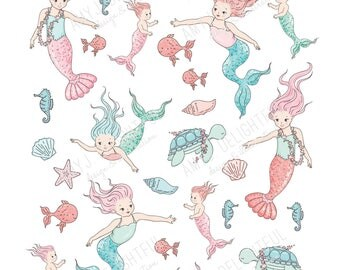 Printable MERMAID stickers!-Digital File Instant Download- light and dark skin, bando, happy planner, hand drawn, sea critters, ocean