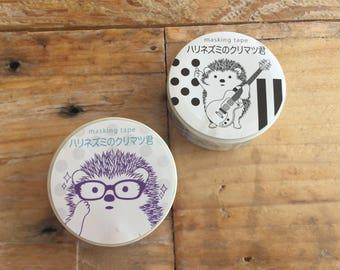 Japanese Washi Masking Tape - <Hedgehog> for Journaling, Hobonichi Planner deco, scrapbooking, packaging