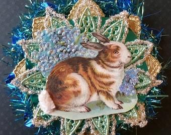 Vintage Look Victorian Easter Ornament-Vintage 1900's Postcard Bunny,German Dresdens,German Tinsel,Vintage Tinsel,Vintage Reflector