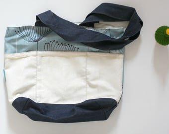 large tote bag, beach bag, diaper bag, picnic bag, denim, blue,creme,floral print, eco-friendly,reclaimed fabrics,carry all bag