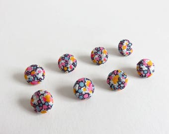8 Set Of 12mm fabric Covered buttons Liberty Lawn 'Pepper K'