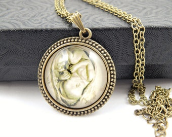 Leonardo da Vinci Fetus in the Womb Cabochon Pendant Necklace - Handmade Baby Jewelry - Pro Life Jewelry - Midwife Necklace